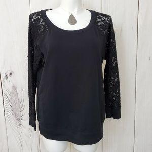 Torrid Top Sweatshirt Sheer Lace Sleeves Black 2XL